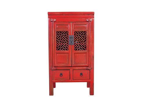 Fine Asianliving Chinese Kast Handgesneden Vintage Rood L57xB38xH105cm