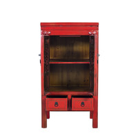 Fine Asianliving Chinese Cabinet Handcrafted Vintage Red L57xW38xH105cm