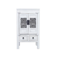 Fine Asianliving Chinese Cabinet Handcrafted Vintage White L57xW38xH105cm
