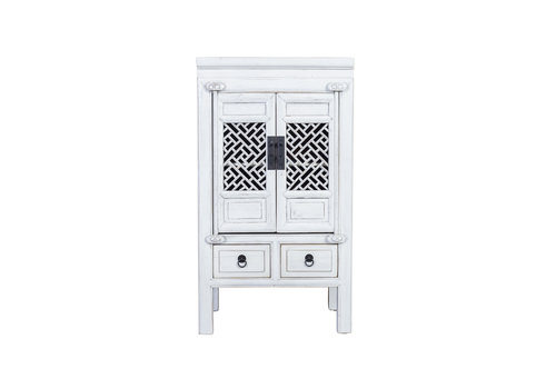 Fine Asianliving Fine Asianliving Chinese Cabinet Handcrafted Vintage White L57xW38xH105cm
