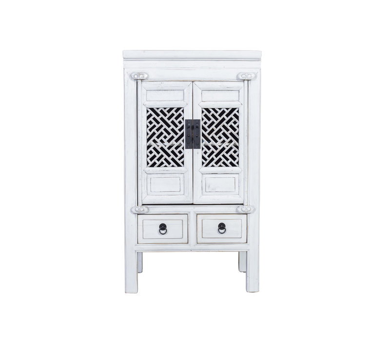 Armoire Chinoise Handcrafted Blanc vieilli L57xP38xH105cm