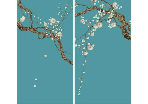Fine Asianliving Fine Asianliving Oriental Wall Art Set/2 Sakura Mother of Pearl on 100% Pure Silk 600x1100mm