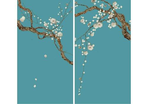 Fine Asianliving Oosters Wanddecoratie Set/2 Sakura Parelmoer op Puur Zijde 600x1100mm
