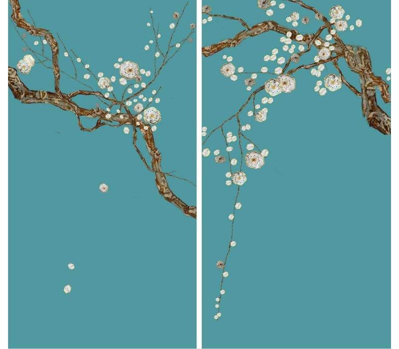 Oosters Wanddecoratie Set/2 Sakura Parelmoer op Puur Zijde 600x1100mm