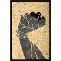 Oosters Schilderij Boeddha Hand Lotus op Kurk 600x900mm