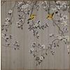 Fine Asianliving Oosters Schilderij Beschilderde Vogels op Puur Zijde 850x850mm