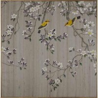Fine Asianliving Oriental Wall Art Painted Birds 100% Pure Silk 850x850mm