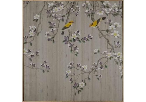 Fine Asianliving Fine Asianliving Oriental Wall Art Painted Birds 100% Pure Silk 850x850mm