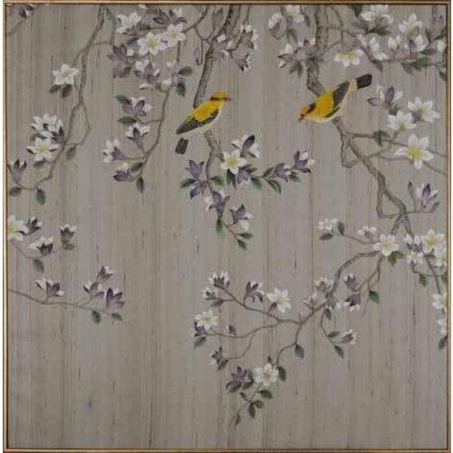 Fine Asianliving Oriental Wall Art Painted Birds 100% Pure Silk 850x850mm