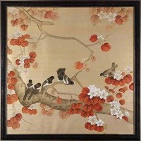 Oosters Schilderij Beschilderde Vogels op Puur Zijde 900x900mm