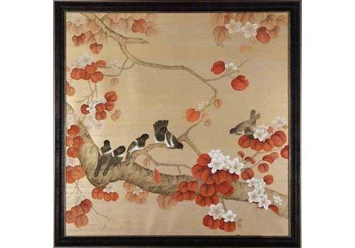 Fine Asianliving Tableau Décoration Murale sur Soie Oiseaux L90xH90cm