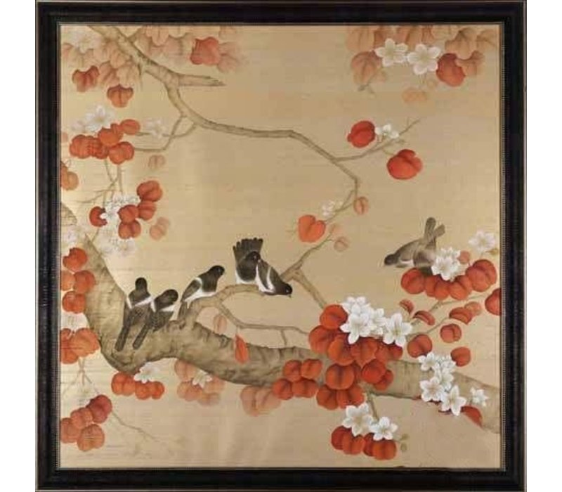 Fine Asianliving Oriental Wall Art Painted Birds 100% Pure Silk 900x900mm