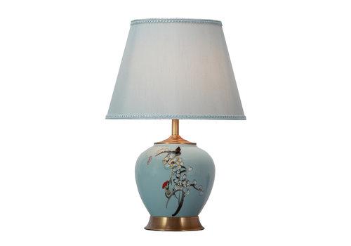 Fine Asianliving Lámpara de Mesa de Porcelana Azul Pintada a Mano con Pantalla