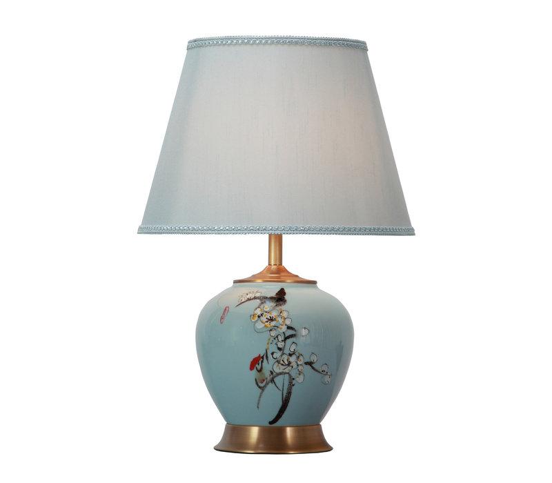 Lampada da Tavolo Cinese in Porcellana con Paralume Dipinta a Mano Blu