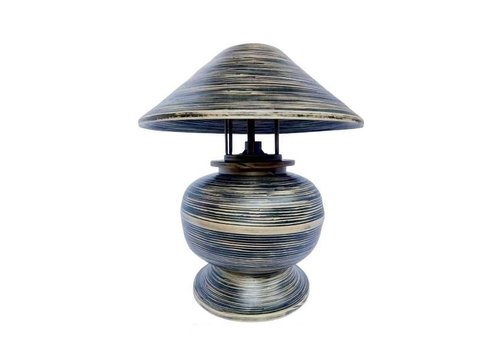 Fine Asianliving Bamboo Table Lamp Spiral Handmade Black 37x37x40cm