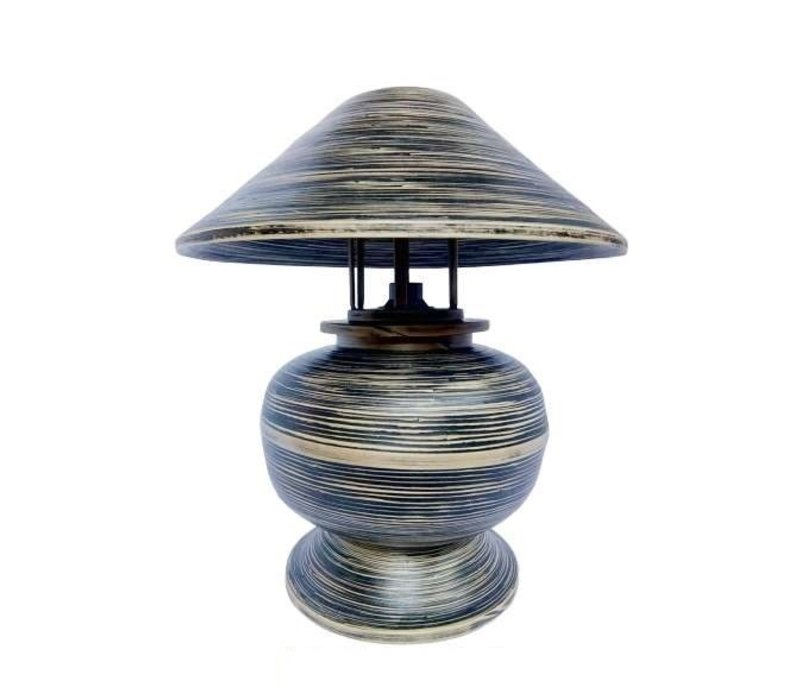 Bamboo Table Lamp Spiral Handmade Black 37x37x40cm