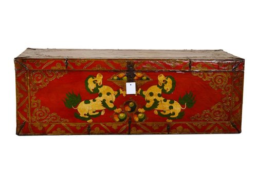 Fine Asianliving Antique Tibetan Storage Box Hand Painted - Foo Dogs