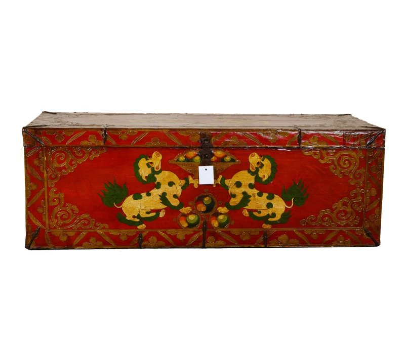 Antique Tibetan Storage Box Hand Painted - Foo Dogs