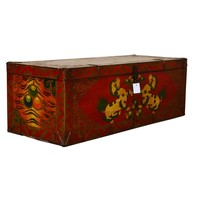 Fine Asianliving Antique Tibetan Storage Trunk Chest Handpainted - Foo Dogs