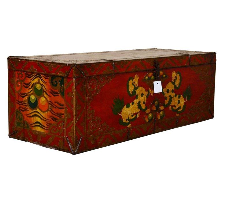 Antieke Tibetaanse Kist Handbeschilderd - Foo Dogs