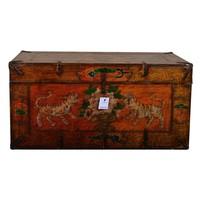 Antique Tibetan Storage Chest Hand Painted - Tigers