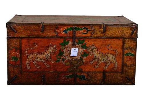 Fine Asianliving Antieke Tibetaanse Kist Handbeschilderd - Tijgers