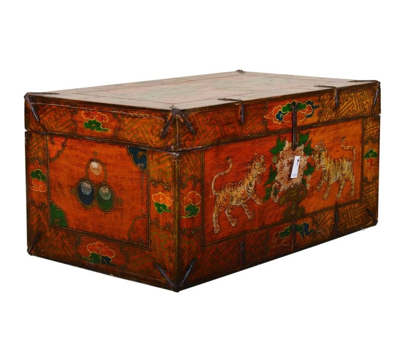 Fine Asianliving Antique Tibetan Storage Large Trunk Chest Handpainted - Tigers