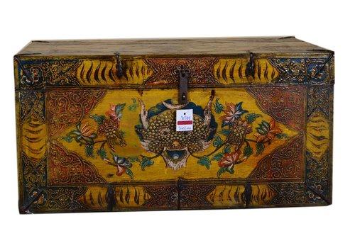 Fine Asianliving Antieke Traditionele Tibetaanse Kist Handgemaakt - Tibet