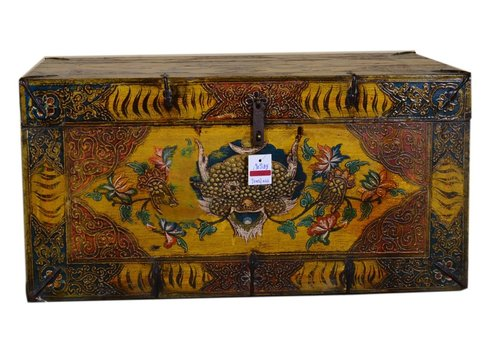 Fine Asianliving Fine Asianliving Antique Tibetan Storage Large Trunk Chest Handpainted - Tiger