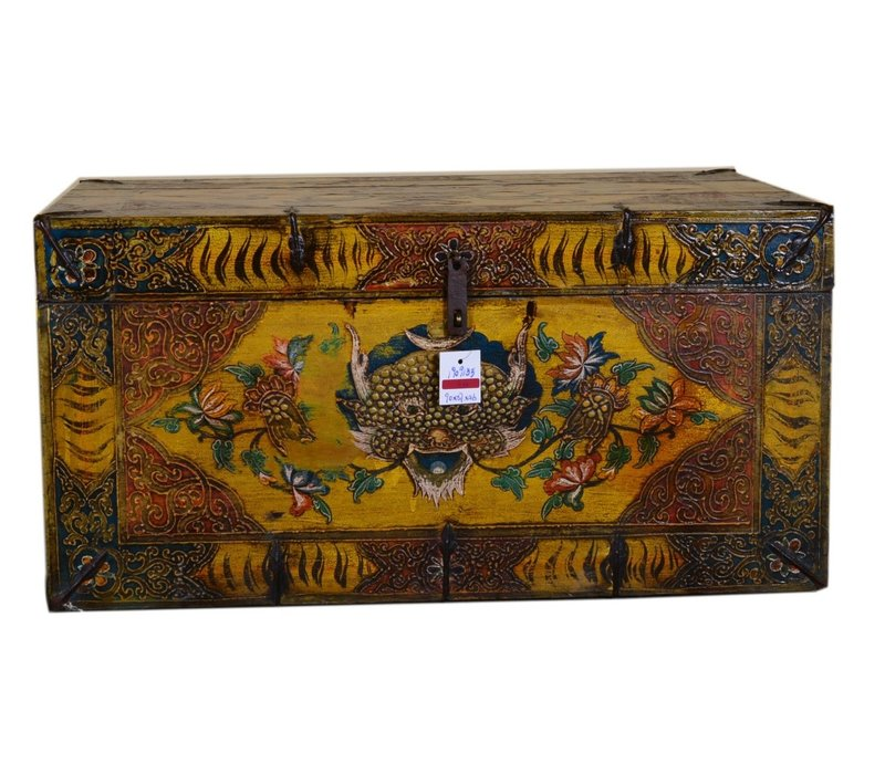 Fine Asianliving Antique Tibetan Storage Large Trunk Chest Handpainted - Tiger