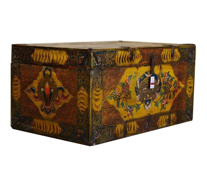 Antieke Traditionele Tibetaanse Kist Handgemaakt - Tibet