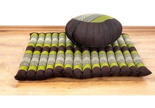 Fine Asianliving Complete Set: Meditationskissen Zafu 40x20cm, Meditationsmatte Zabuton 76x72cm Green