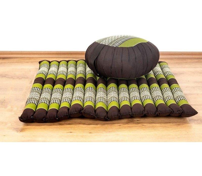 Complete Set: Meditationskissen Zafu 40x20cm, Meditationsmatte Zabuton 76x72cm Green