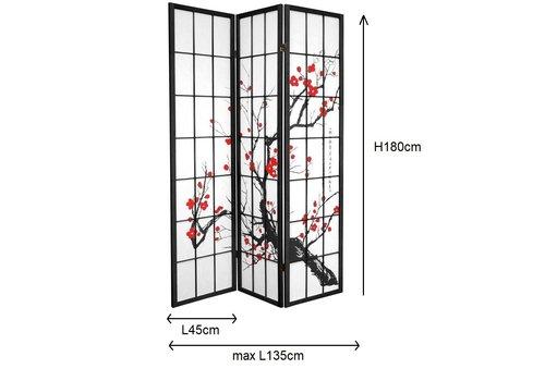 Fine Asianliving Japanischer Paravent Raumteiler Trennwand 3-teilig Kirschblüten - Schwarz - B135xH180cm