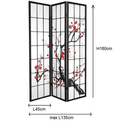 Japanese Room Divider Shoji Sakura Cherry Blossoms Black L135xH180cm 3 Panel