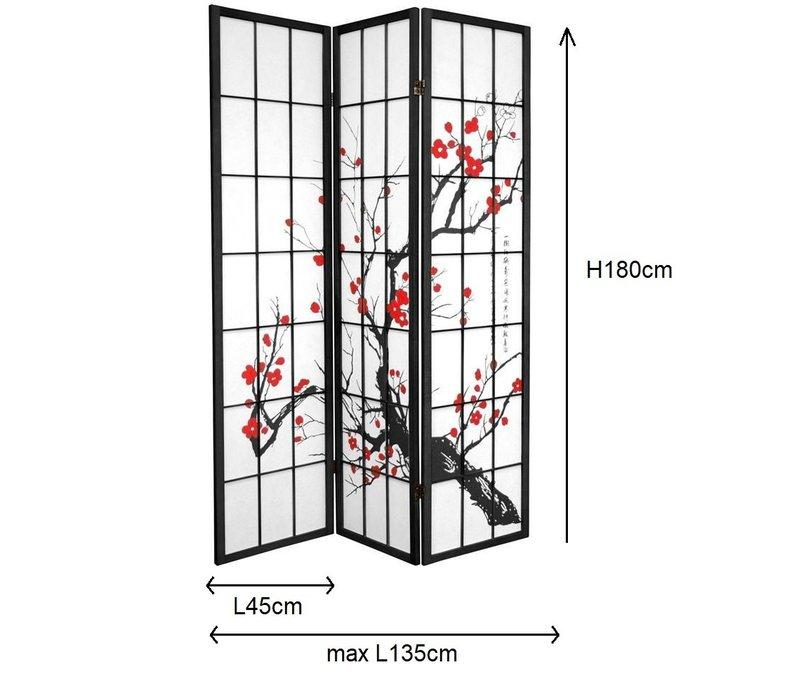 Japanese Room Divider Shoji Sakura Cherry Blossoms Black W135xH180cm 3 Panel