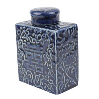 Chinese Ginger Jar Blue Double Happiness Handpainted Porcelain W11.5xD6xH16.5cm