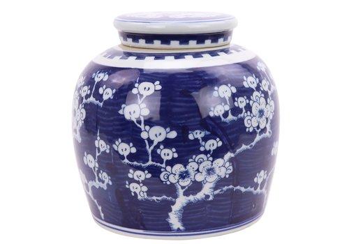 Fine Asianliving Vaso Ginger Jar Cinese in Porcellana Fiore di Ciliegio Dipinto a Mano Blu L23xA23cm