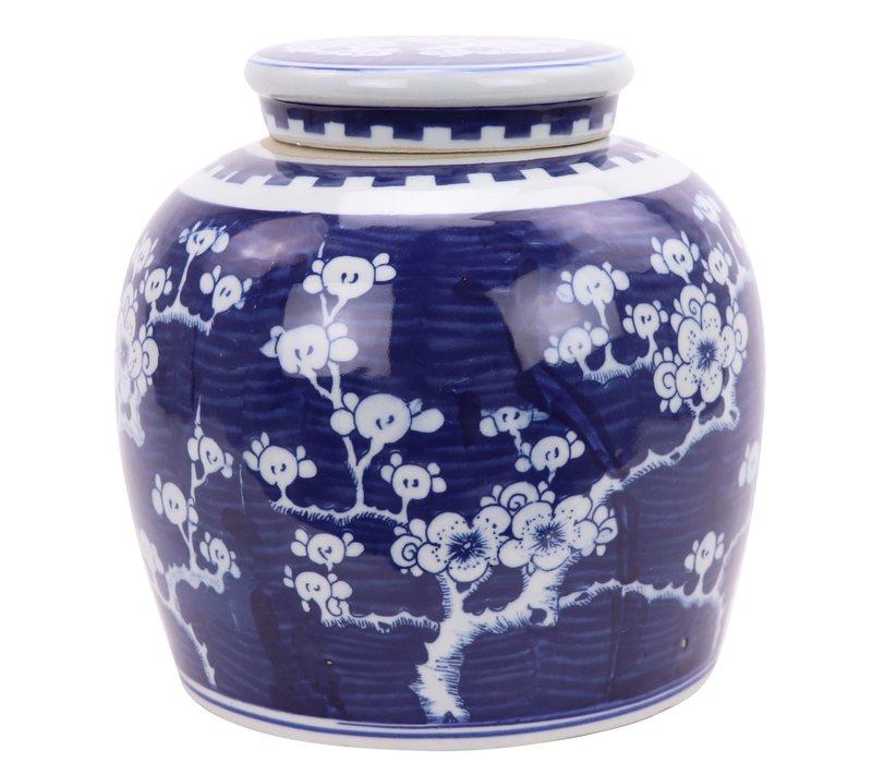 Chinesischer Ingwertopf Porzellan Handbemalt Kirschblüte Blau B23xH23cm