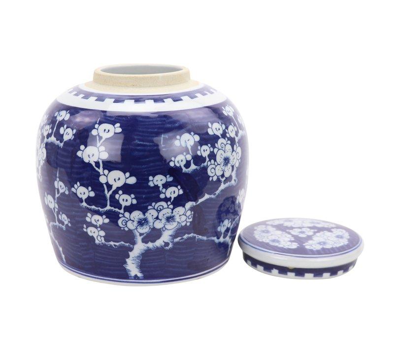 Chinese Gemberpot Blauw Sakura Handbeschilderd L23xH23cm