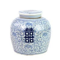 Chinese Ginger Jar Double Happiness Hand-painted Blue W22xH22cm