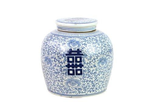 Fine Asianliving Pot à Gingembre Chinois Bonheur Bleu Peint à la Main L22xH22cm