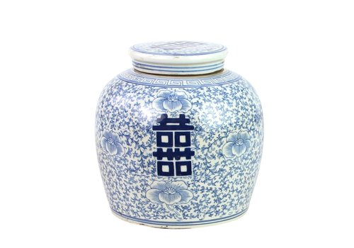Fine Asianliving Tarro de Jengibre Chino Felicidad Pintado a Mano Azul y Blanco Anch.22 x Alt.22 cm