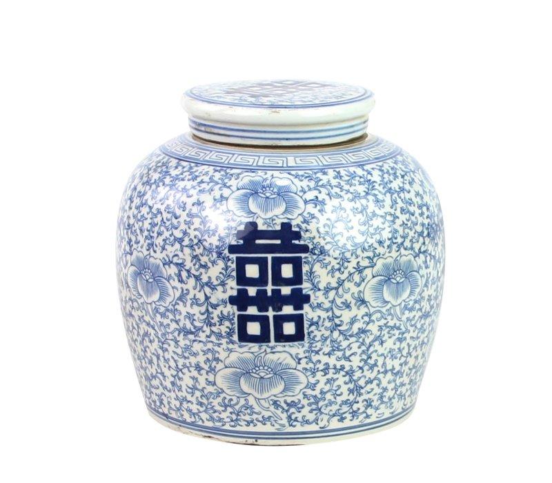 Chinesischer Ingwertopf Porzellan Handbemalt Glück Blau B22xH22cm