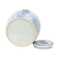 Vaso Ginger Jar Cinese in Porcellana Felicità Dipinto a Mano Blu L22xA22cm