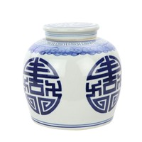 Chinese Ginger Jar Blue Happiness Handpainted Porcelain L23xH23cm