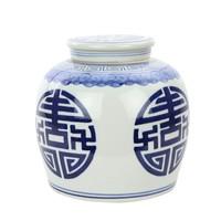 Vaso Ginger Jar Cinese in Porcellana Felicità Dipinto a Mano Blu L23xA23cm