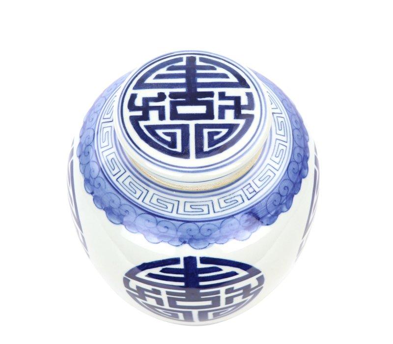 Chinese Gemberpot Blauw Gelukzaligheid Handgeschilderd B23xH23cm