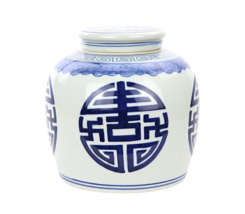 Chinese Gemberpot Blauw Happiness Handbeschilderd L23xH23cm