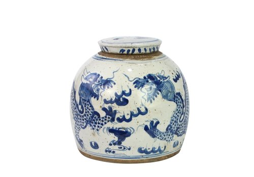 Fine Asianliving Chinese Ginger Jar Blue Dragon Handpainted Porcelain L24xH24cm
